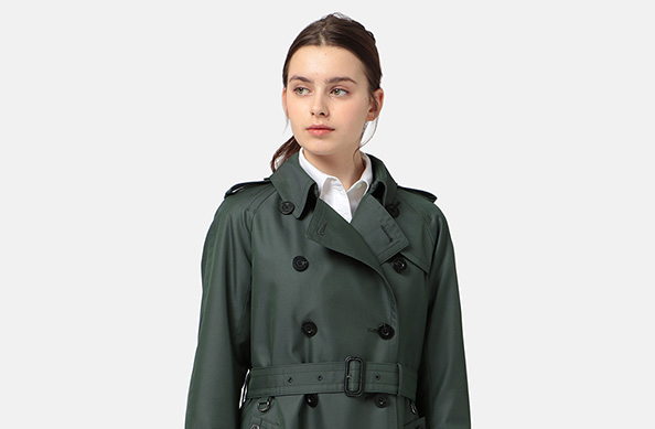 Aquascutum Ladies basic TRENCH COAT~2019 Spring Limited Colour 'Deep Green'~